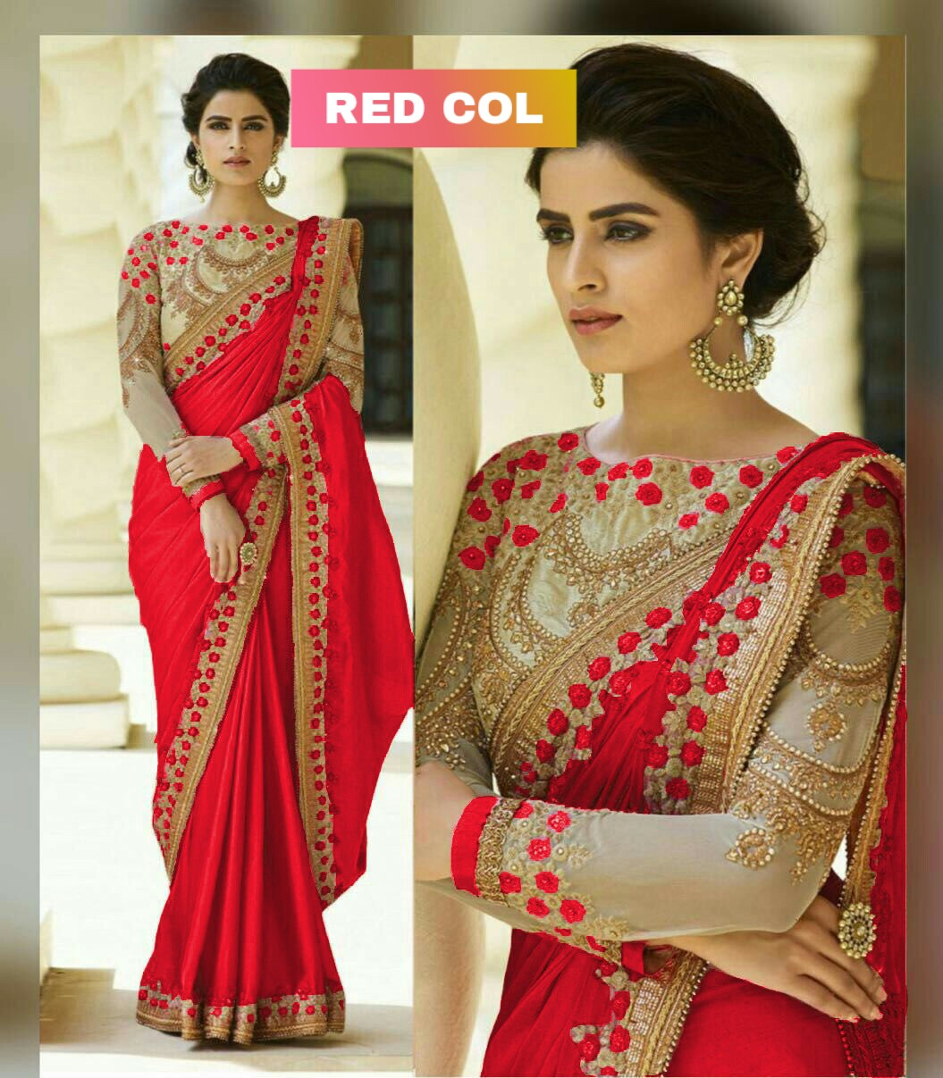 Ethnic Ineffable Red Embroidered pearl Border Work Catonic Rangoli Saree
