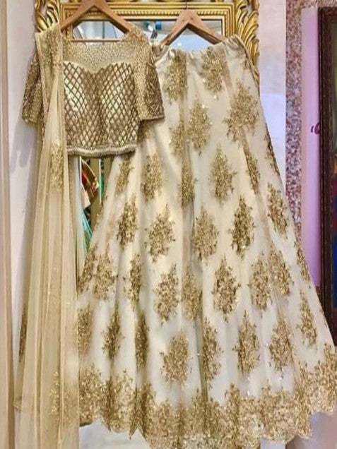 Classic White Colour Net With Embroidery Work Lehenga Choli