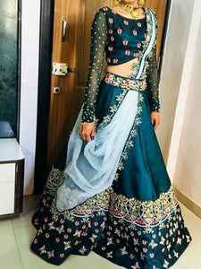 Blue Embroidered Satin Silk Semi Stitched Lehenga Choli