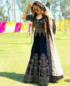 Blue Colour Best Look Taffet Silk Embroidery Work Gown