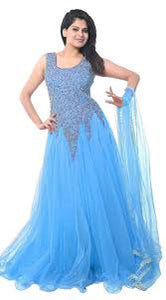Baby SkyBlue Designer Net Embroidered Semi-Stitched Gown