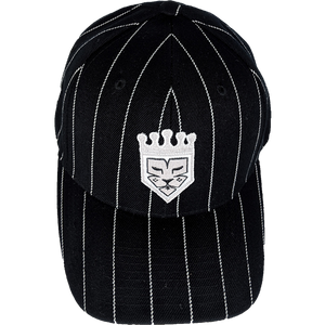 Black White Pinstripe Fitted Baseball Hat