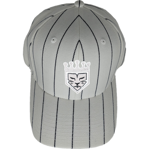 White Black Pinstripe Fitted Baseball Hat