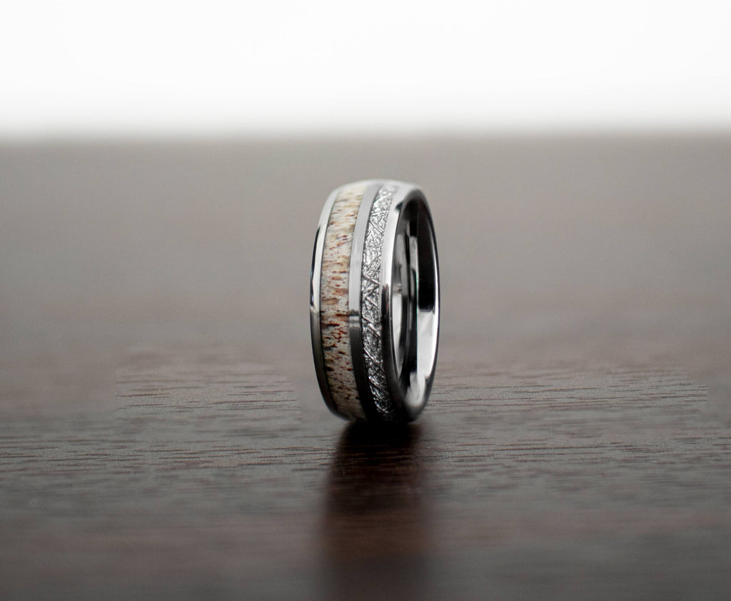 meteorite-antler-mens-wedding-band-on-table-slight-angle