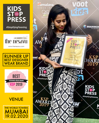 Coimbatore brand 'The Nesavu' won best designer kids wear brand 2019 in India by Kidsstoppress