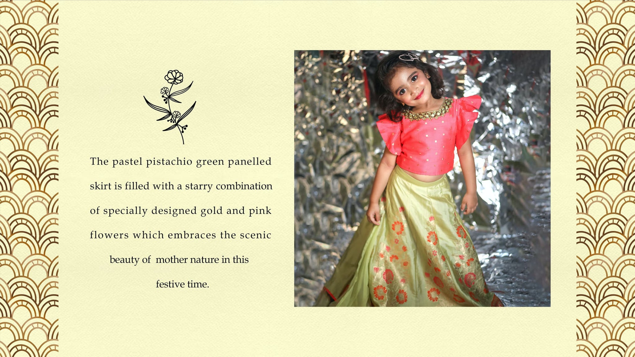 "The Nesavu proudly presents ""Aiyana"" - Our New Party Lehenga choli design which has its soul-inspired from the eternal bloom. The Lehenga choli design is designed based on the reference of the Eternal Blossom. The Eternal Blossom or the flower that never fades, is a unique reference of life as it portrays the kind of personality whose sparkle never fades."