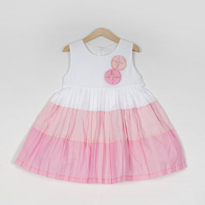 Alluring White and Baby Doll Pink Tiered Cotton Girls Dress - thenesavu