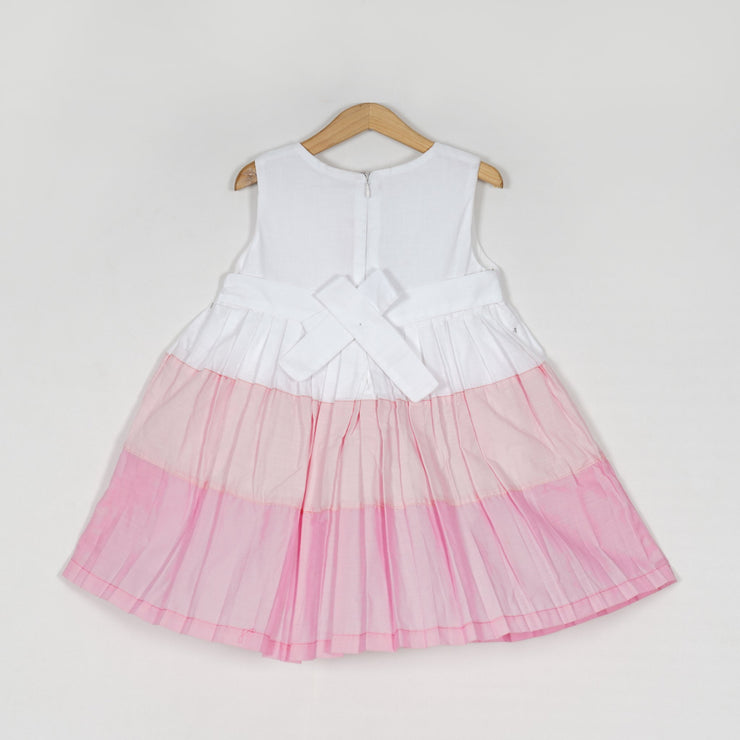 The Nesavu Frocks & Dresses Alluring White and Baby Doll Pink Tiered Cotton Girls Dress psr silks Nesavu