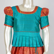 Aqua Woven Jacquard for Trendy Twist on Traditional Pattu Pavadai for Kids - thenesavu