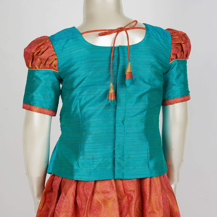 The Nesavu Pattu Pavadai Aqua Woven Jacquard for Trendy Twist on Traditional Pattu Pavadai for Kids psr silks Nesavu