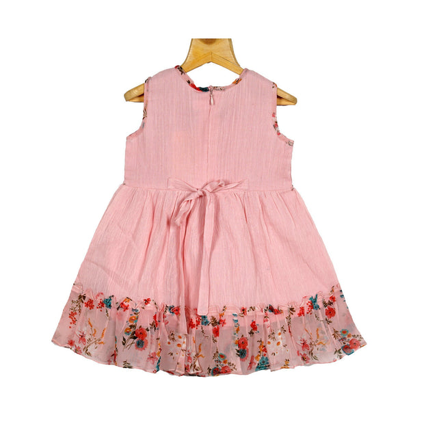Baby Pink Fine Embroidered Yoke Girls Crush Cotton Casual Wear Dress - thenesavu