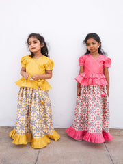 The Nesavu Pattu Pavadai Baby Pink Pleated Peplum Choli With Designer Printed Pavadai psr silks Nesavu