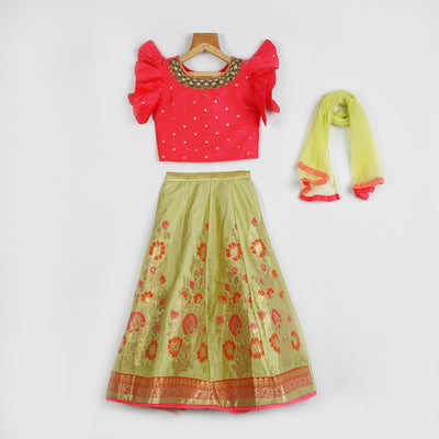 The Nesavu Lehenga & Ghagra Banarasi Zari Brocade Traditional Handcrafted Kids Lehenga psr silks Nesavu greenyellow / 16 GL027A