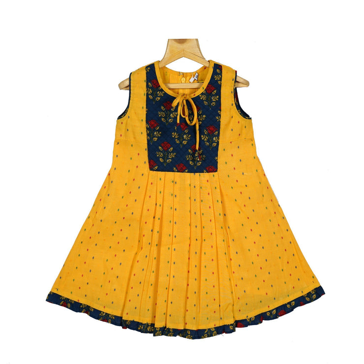 The Nesavu Frocks & Dresses Beautiful Bib Yoke Cotton Casual Wear Frock Dress For Baby Girls psr silks Nesavu 20 / Yellow / Cotton KGC11