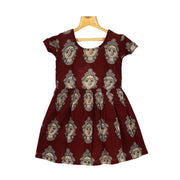 Beautiful Kalamkari Face Printed Daily Wear Girl Cotton Frock - thenesavu