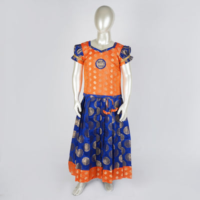 blue Taffeta pattu pavadai sattai with contrast puff sleeve and border - thenesavu