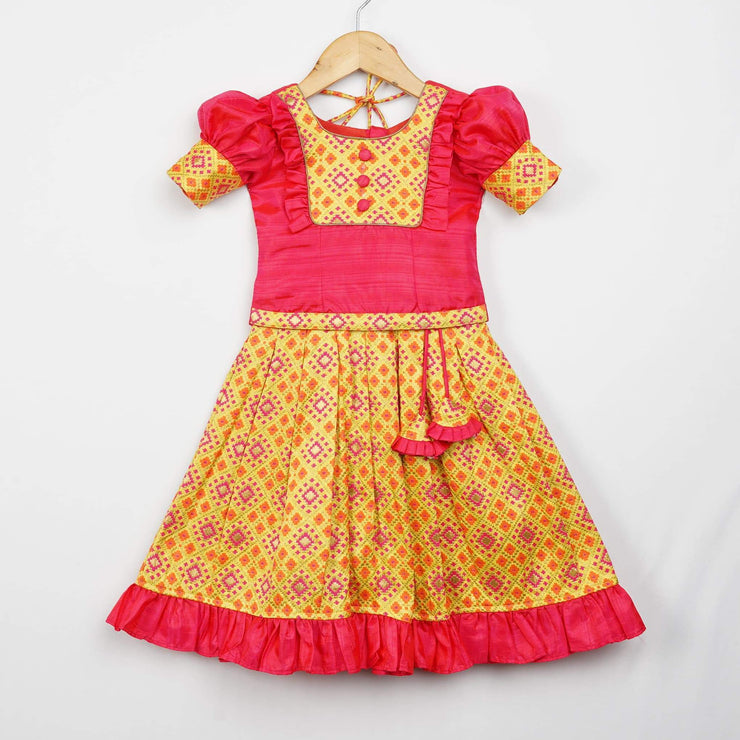 The Nesavu Pattu Pavadai Bright Colour Latest Woven Patola Baby Pattu Langa with Puff Sleeve Blouse psr silks Nesavu 0M-6M / gold GPP041A