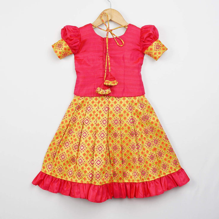 The Nesavu Pattu Pavadai Bright Colour Latest Woven Patola Baby Pattu Langa with Puff Sleeve Blouse psr silks Nesavu