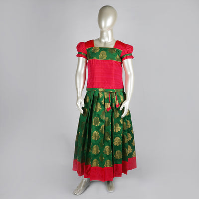 Brocade Jacquard Silk Green Pattu Pavadai for Babies With Puff Sleeves - thenesavu