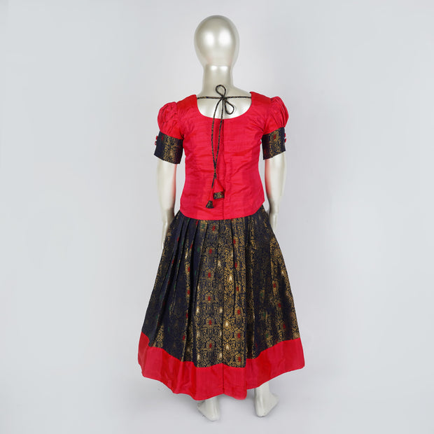 Brocade Kids Pattu Langa / Lehenga Zari Motif, Potli Buttons and Puff Sleeves - thenesavu