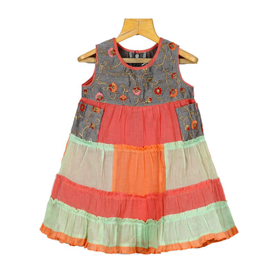Chanderi Silk Cotton Patch Work Dress For Little Baby Girls - thenesavu