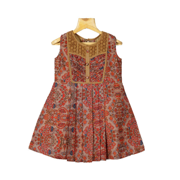 The Nesavu Frocks & Dresses Classy Traditional Indian Mughal Printed Cotton Casual Wear Frock Dress psr silks Nesavu 18 / Multicolours KGC39