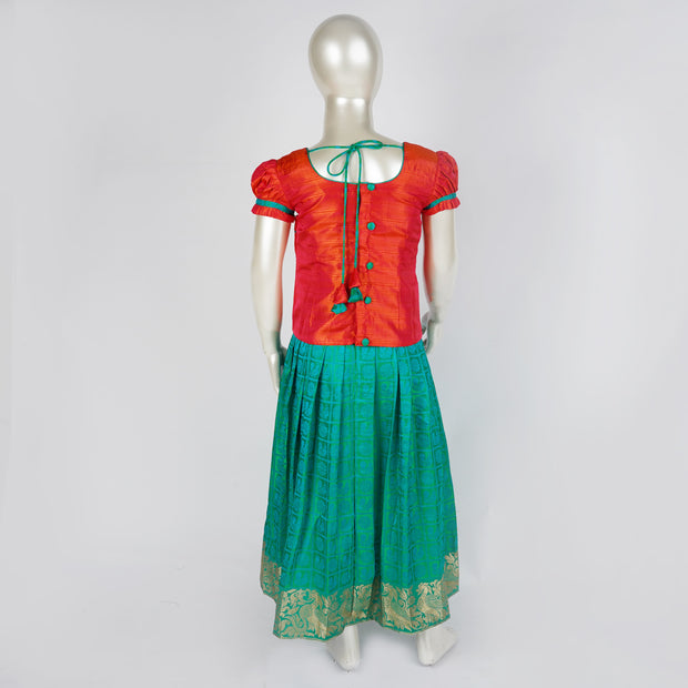 Comfortable pattu Pavada Satta / Langa Self Design Motif With Puff Sleeve and Yoke - thenesavu
