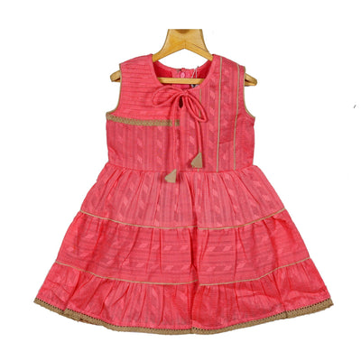 Coral Gypsy Frock Baby Girls Cotton Casual Wear Frock Dress - thenesavu