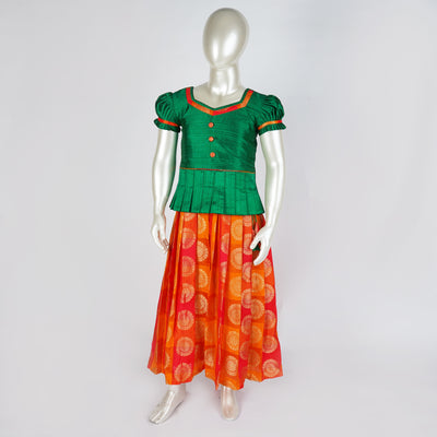 The Nesavu Pattu Pavadai Cute Pattu Parikini / Lehenga for Babies Premium Quality Kids Readymade psr silks Nesavu