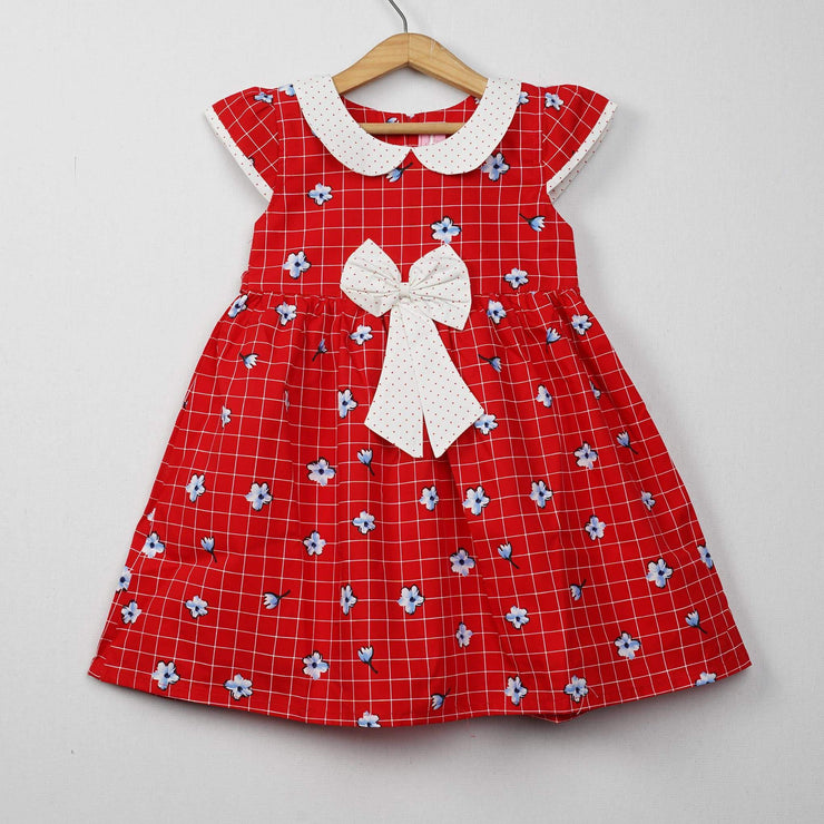 The Nesavu Frocks & Dresses Daily Use Cotton Fabric Cotton Frocks for Kids psr silks Nesavu 0M-6M / Red GFC153A