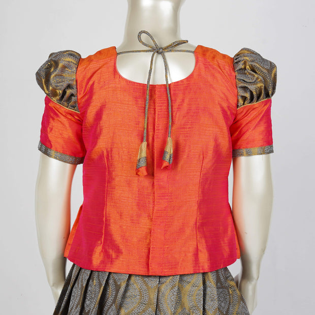 Designer Pattu Paavadai Kids With Box Pleat Peplum Top / Statement Sleeves in Zari Brocade - thenesavu