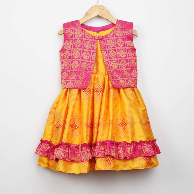 The Nesavu Frocks & Dresses Designer Woven Patola Baby Girl Birthday Dresses psr silks Nesavu 0M-6M / gold GFC154A