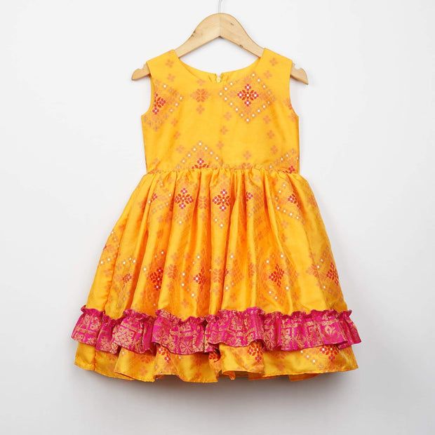 The Nesavu Frocks & Dresses Designer Woven Patola Baby Girl Birthday Dresses psr silks Nesavu