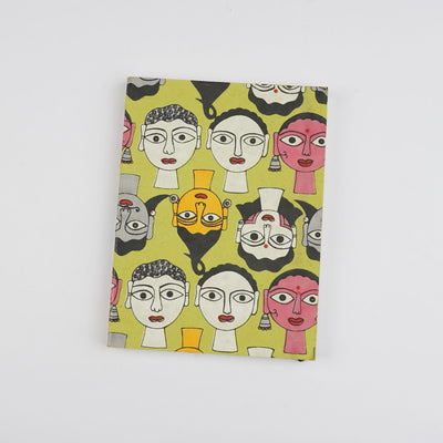 Papa Taka Notebooks Diaries for Writing Face Doodle Art Diary Handmade Sustainable Notes psr silks Nesavu PNJ124A