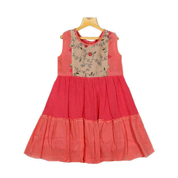 Embroidered Yoke Coral Tired Girls Crush Cotton Casual Wear Frock - thenesavu