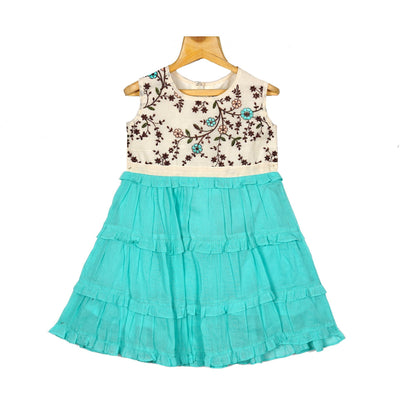 Embroidered Yoke Turqouise Layered Girls Cotton Casual Wear Frock - thenesavu