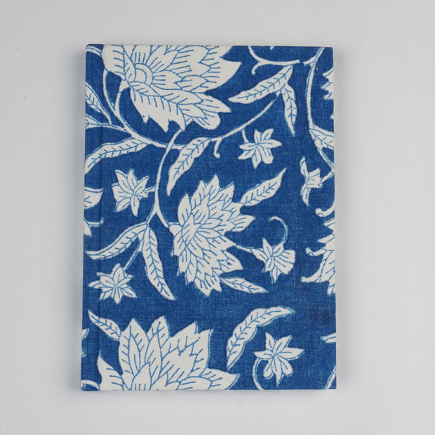 Papa Taka Notebooks Fabric Bound Notebook Indigo Blue Block Print Beautiful Diaries Online psr silks Nesavu 21cm x 16cm PNJ141A