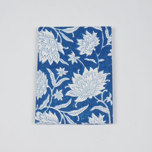 Papa Taka Notebooks Fabric Bound Notebook Indigo Blue Block Print Beautiful Diaries Online psr silks Nesavu 15 x 12 PNJ141B