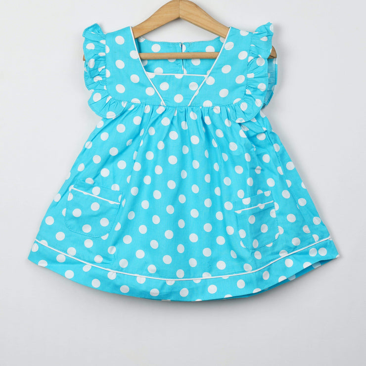 The Nesavu Baby Frock / Jhabla Firozi Colour Polka Dot Cotton Handmade Baby Girl Frocks psr silks Nesavu 0M-3M / cyan BFJ36A