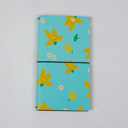 Papa Taka Journals & Diaries Floral printed Vegan leather cover travel journal inserts notebook diary psr silks Nesavu cyan PNJ072A