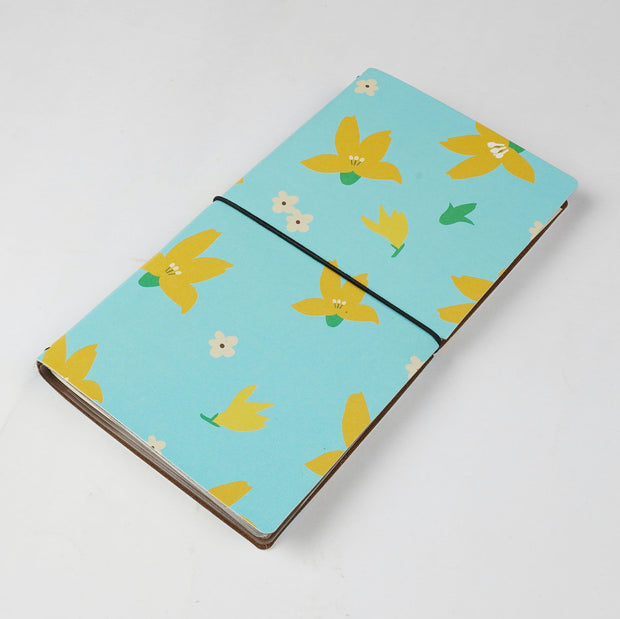 Papa Taka Journals & Diaries Floral printed Vegan leather cover travel journal inserts notebook diary psr silks Nesavu