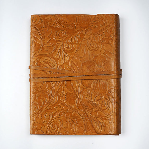 Genuine Embossed Indian Leather Personal Journal Diary Notebook Hand-made paper - thenesavu