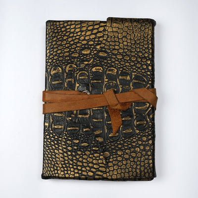 Papa Taka Journals & Diaries Genuine Indian leather croco Effect Handmade Vintage Travel Leather Journal psr silks Nesavu KG484