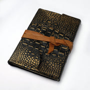Genuine Indian leather croco Effect Handmade Vintage Travel Leather Journal - thenesavu