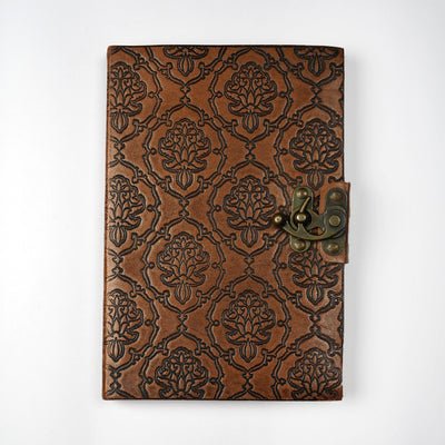 Papa Taka Journals & Diaries Genuine Indian Leather Personal Journal With metal lock Hand-made paper psr silks Nesavu KG480