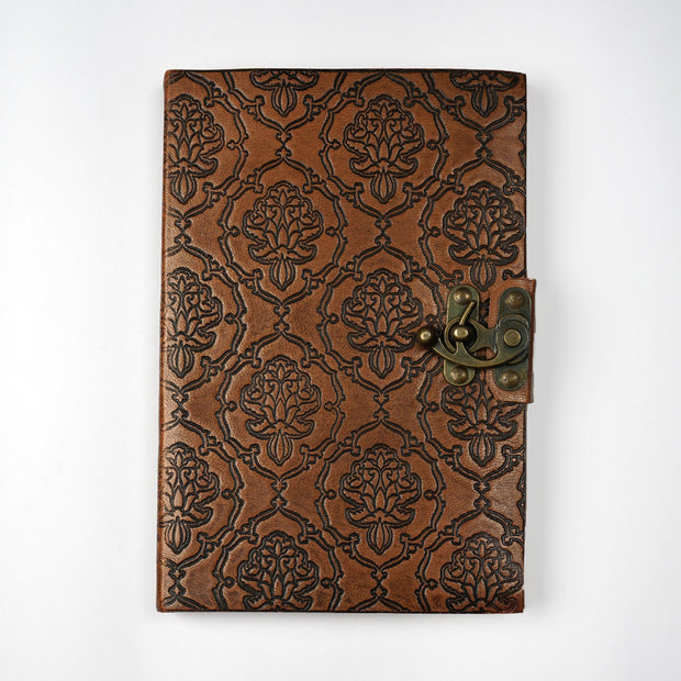Genuine Indian Leather Personal Journal With metal lock Hand-made paper - thenesavu
