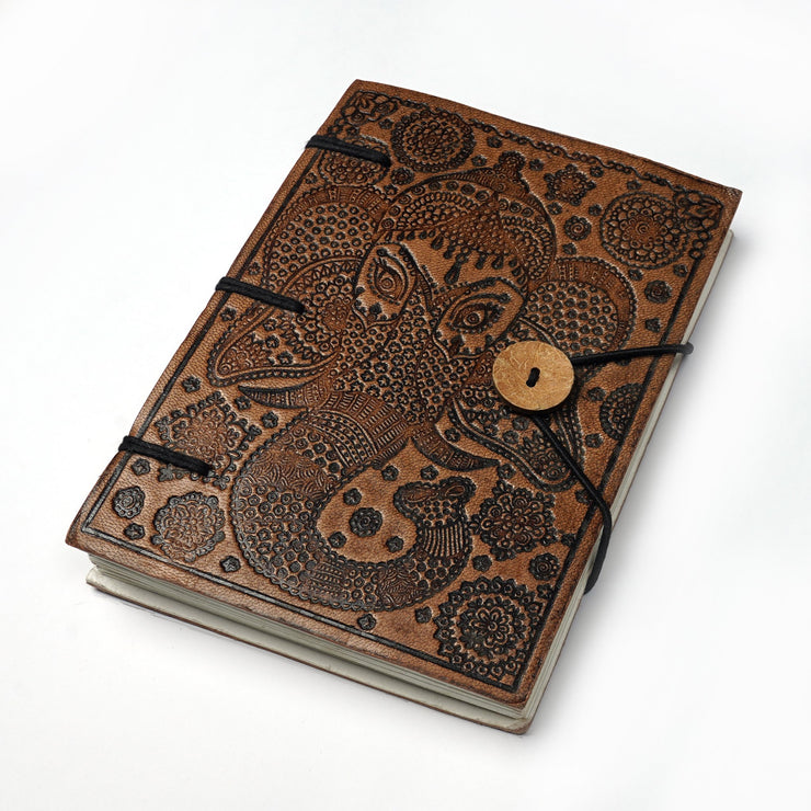 Papa Taka Journals & Diaries Genuine Leather Embossed Personal Journal Diary Notebook made of Hand-made paper psr silks Nesavu KG479