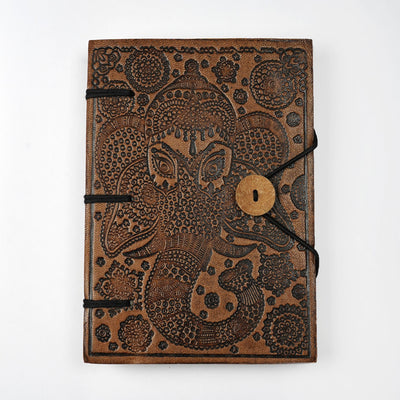 Genuine Leather Embossed Personal Journal Diary Notebook made of Hand-made paper - thenesavu
