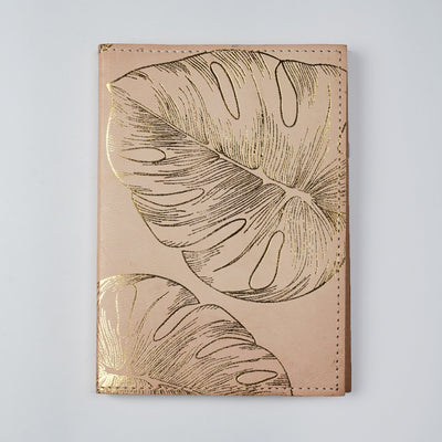 Genuine Leather Gold Foil Printed Personal Journal Diary Notebook handmade - thenesavu