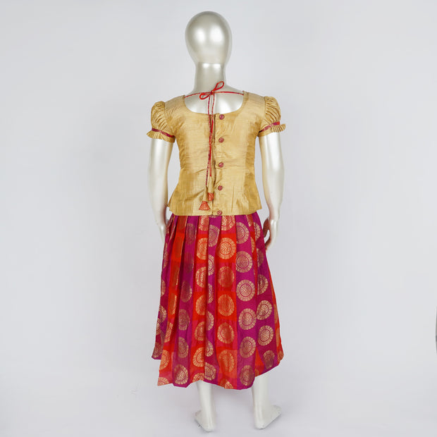 Girls Readymade Pattu Pavadai Set Art Silk Brocade With Peplum Top Puff Sleeve - thenesavu